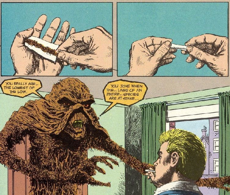 John Constantine takes a toke from swamp thing