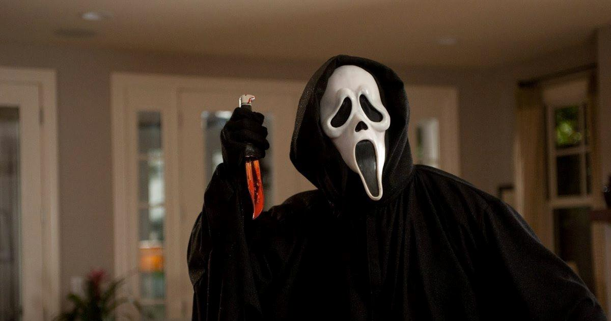 Ghostface with a bloodt knife